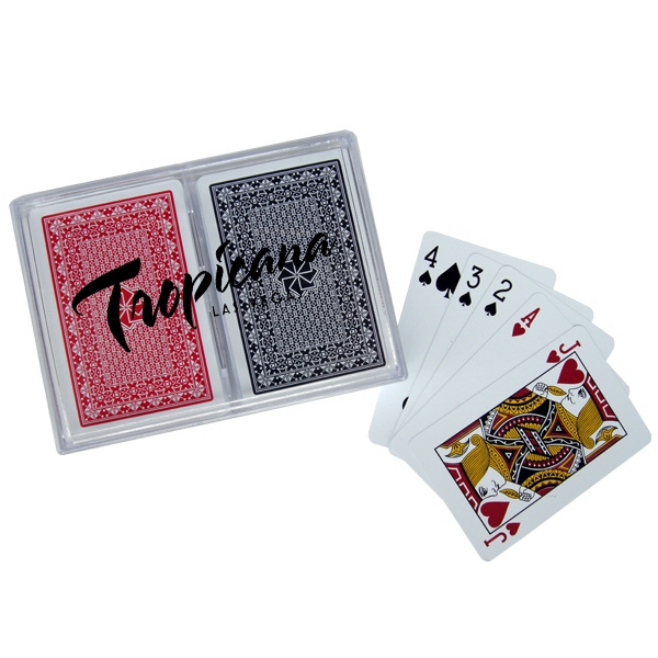 100% Plastic Playing Card in Imprinted Plastic Box
