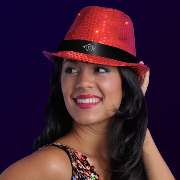 Printed Sequin Red Fedora Hats with Flashing LEDs