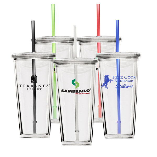 20 oz. Double Wall Acrylic Cup with straw