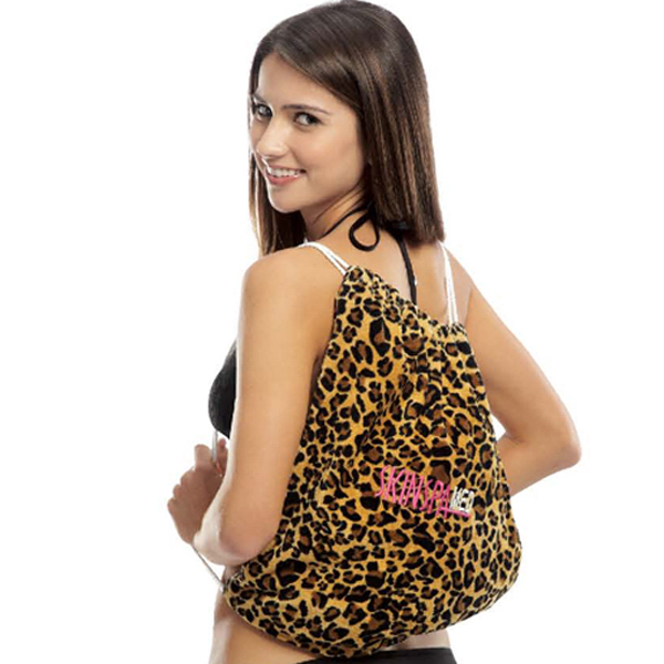 Leopard Print Beach Towel with Self Tote Bag