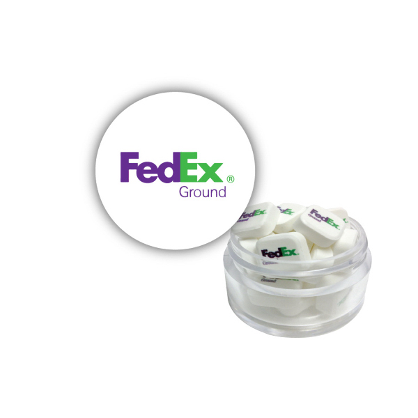 Twist Top Container White Cap filled with Printed Mints