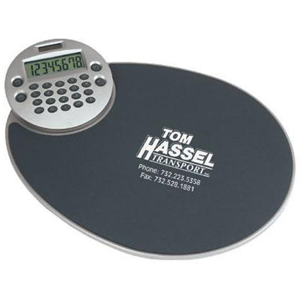 Ergonomic mouse pad with rotating calculator