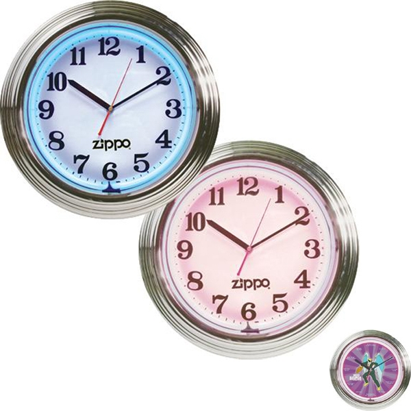 "15"" diameter, chrome plated 2-color flashing neon wall clock"