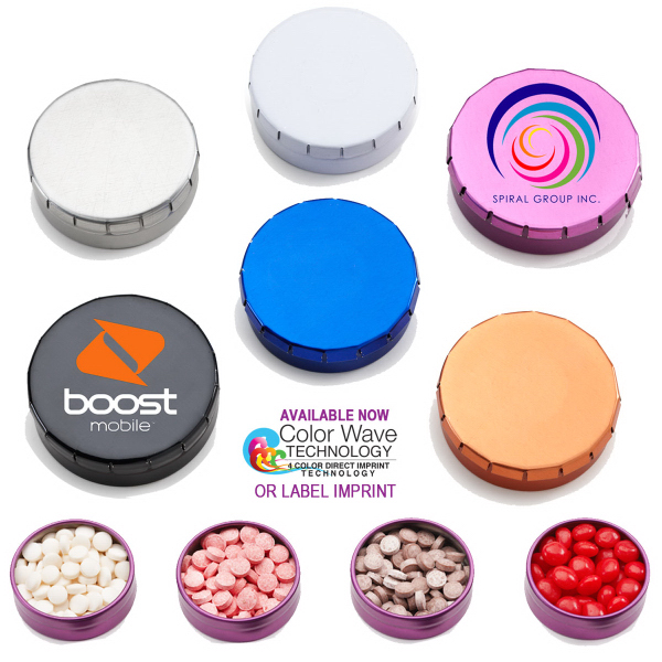 Snap Top Round Mint Tin Box with Mints