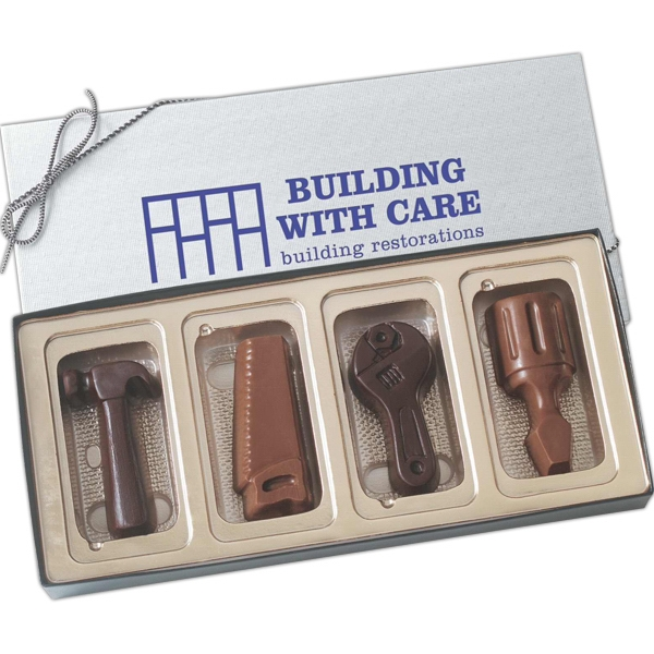 Four tool shapes molded chocolates in gift box