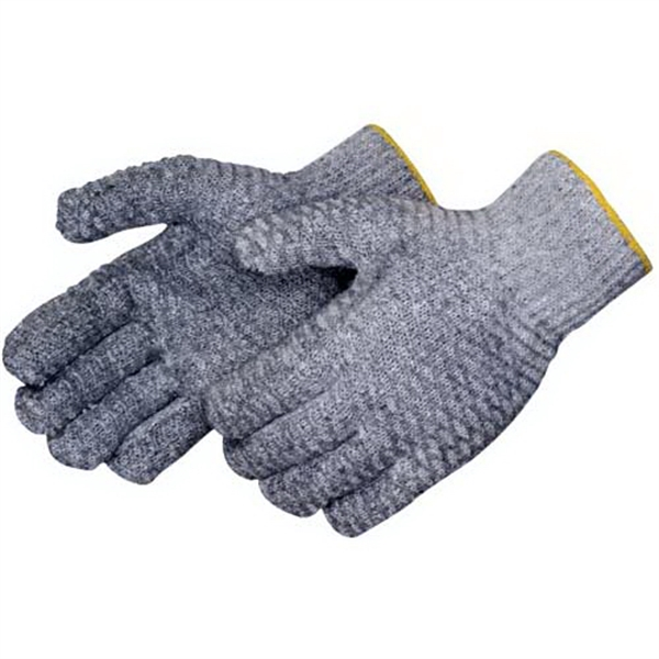 Knit gloves with 2 sided clear PVC honeycomb