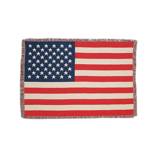 """American flag cotton tapestry afghan, 50"""" x 60"""""""
