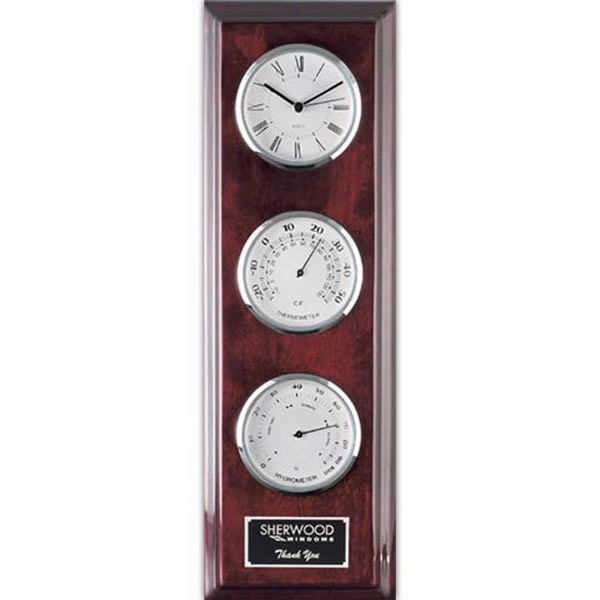 Simmons Clock/Thermometer/Hygrometer - Chrome