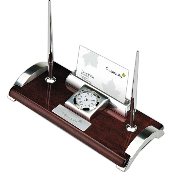 Clock with business card and pen holder goimprints clock card holder and pen stand colourmoves Images