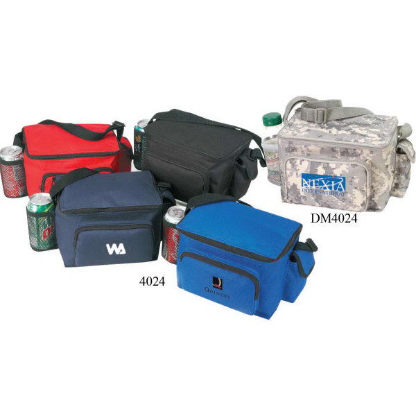 6-Pack Cooler with Bottle Holder & Cell Phone Pouch