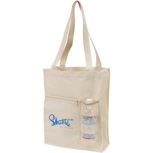 Canvas Mesh Tote Bag with Bottle Holder