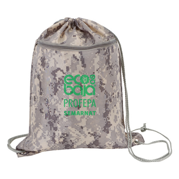 Drawstring Totebag with Zipper And Digital Camouflage Print