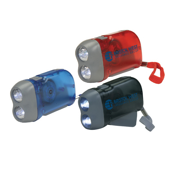 Rechargeable Hand-Powered 2 LED Flashlight
