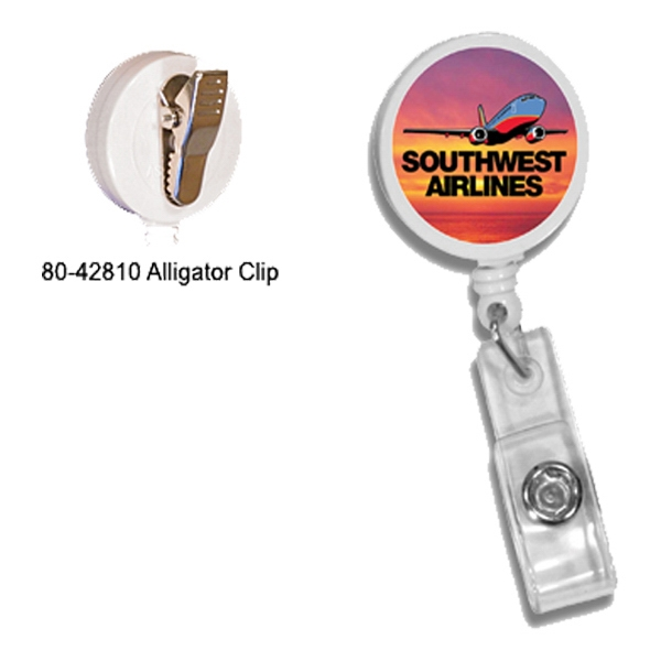Round Badge Holder with Alligator Clip, Full Color Digital