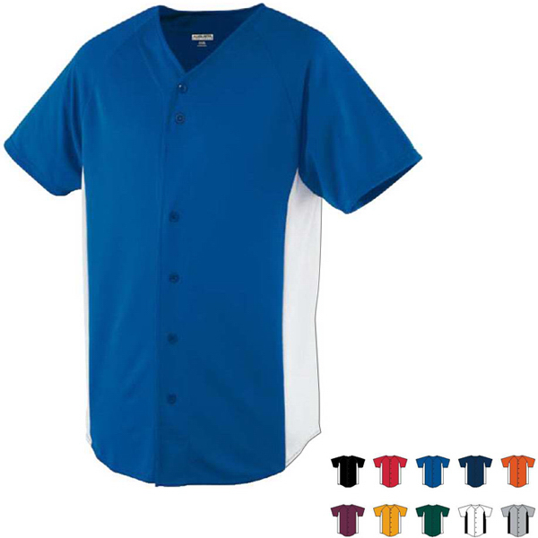 Wicking Color Block Button Front Adult Jersey