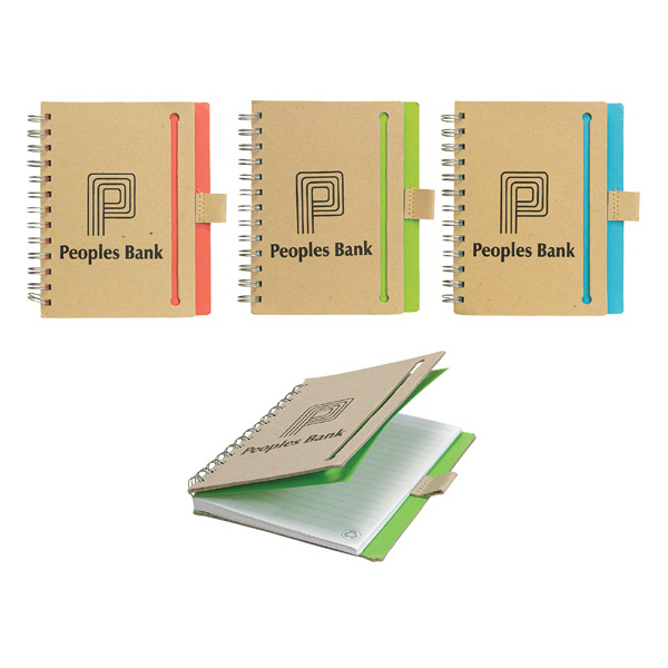 Recycled Spiral Notebook With Chipboard Cover And Pen Loop