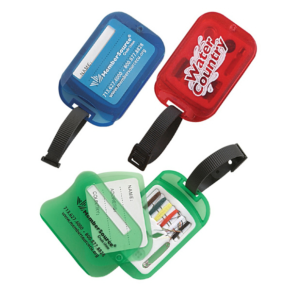Luggage Tag With Swiveling Mini Sewing Kit