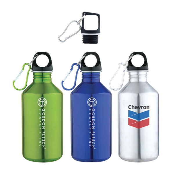 17 Oz. Slim Neck Stainless Steel Water Bottle With Carabiner