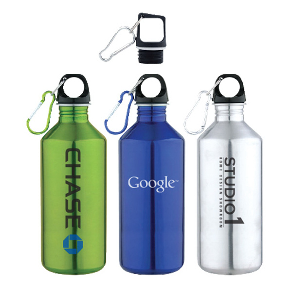 20 oz. Slim Neck Stainless Steel Water Bottle With Carabiner