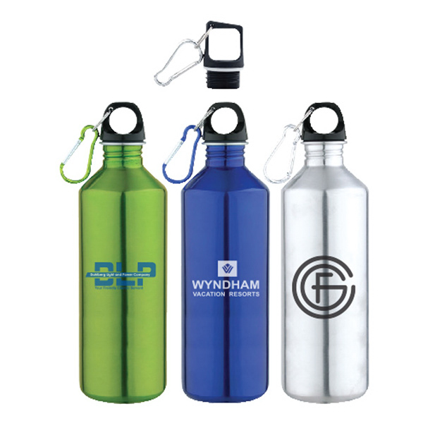 25 oz. Slim Neck Stainless Steel Water Bottle With Carabiner