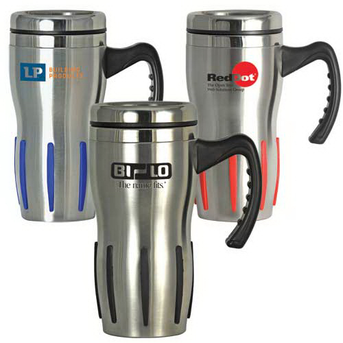 Comfort Grip Stainless Steel Double Wall Mug