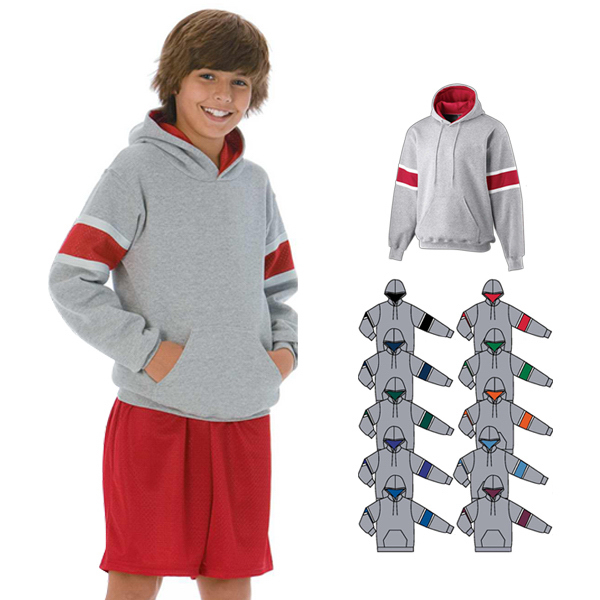 Tri-color hooded sweatshirt youth size
