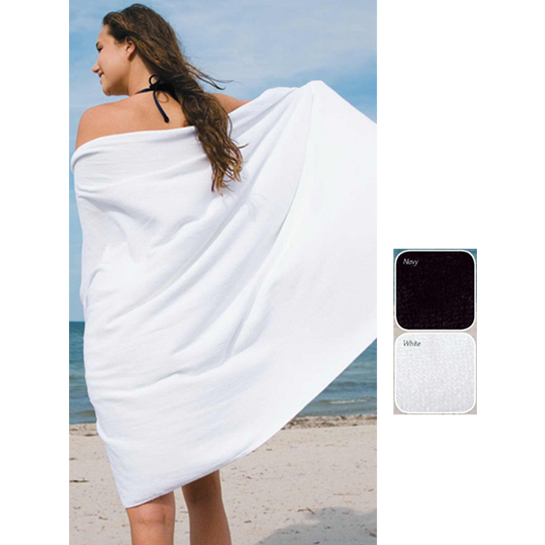 White mid weight cotton beach towel