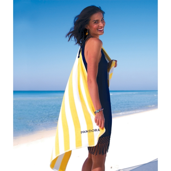 Turkish Signature (TM)Basic Weight Cabana Stripe Beach Towel