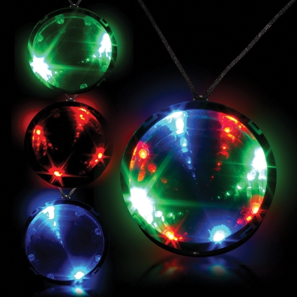 "Tri Color 2 3/4"" Infinity Glow LED LightUp Badge w/ Necklace"