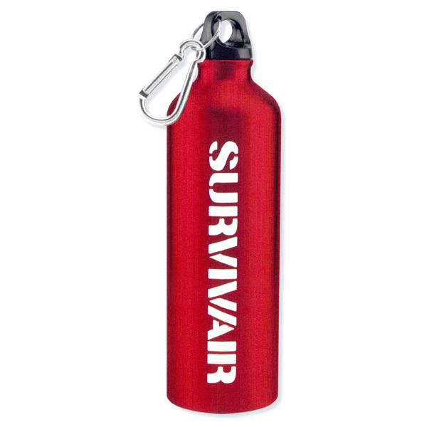 Aluminum sports bottle with carabiner - 25oz