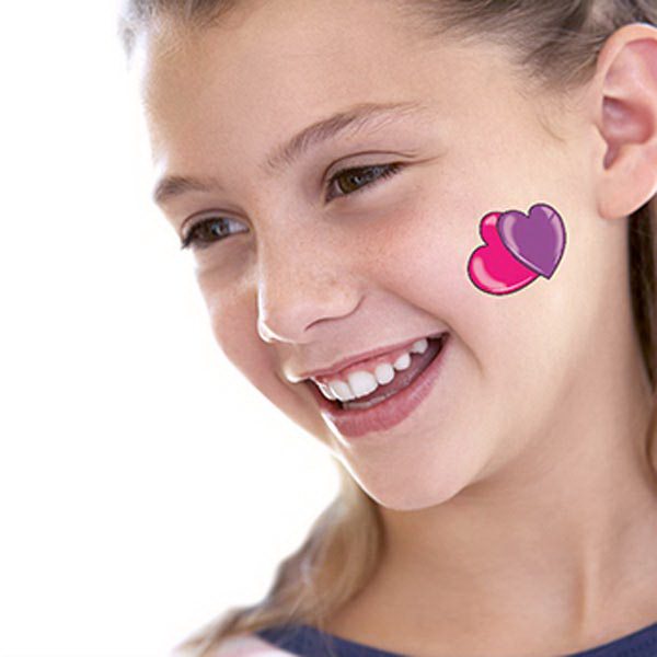 Pink Purple Hearts Temporary Tattoo