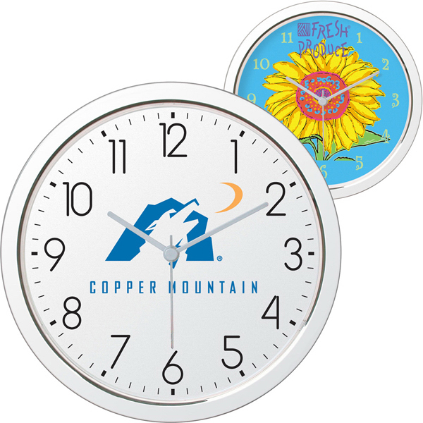 "11"" Shiny Chrome Finish Wall Clock"