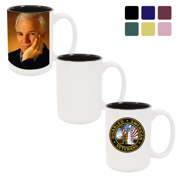 15 oz Ceramic Photo Mug - Two-Tone Color