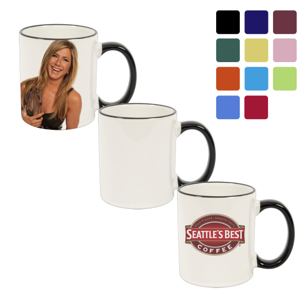 11 oz Ceramic Photo Mug - Rim & Handle Color
