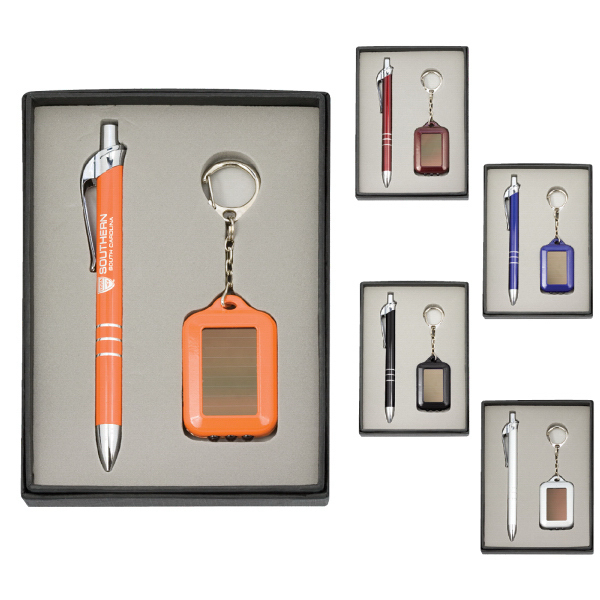 Pen and Solar Keychain Gift Set
