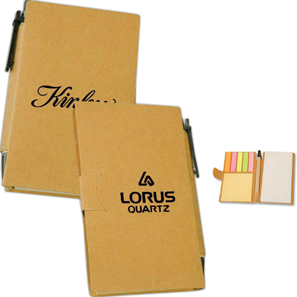 Recycled Sticky Note Book with Pen
