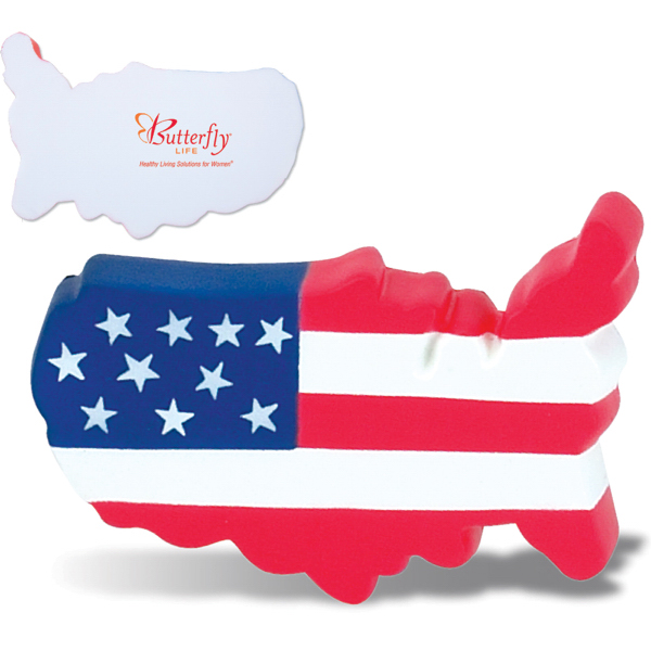 Patriotic USA Map Stress Reliever