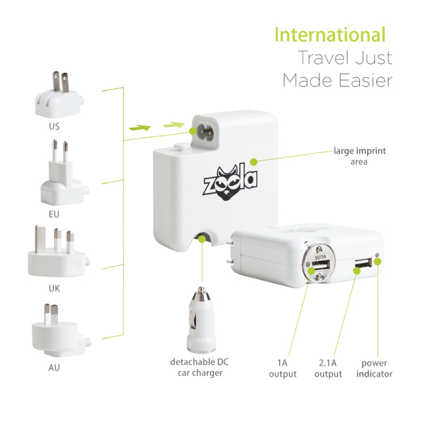 4-in-1 international travel charging adaptor