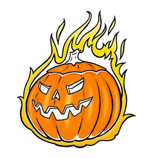 Glow in the Dark Flaming Pumpkin Temporary Tattoo