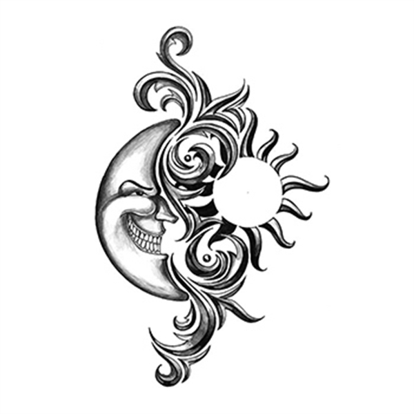 Iron Tribal Sun-Moon Temporary Tattoo