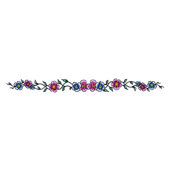 Blue and Purple Flowers Temporary Tattoo