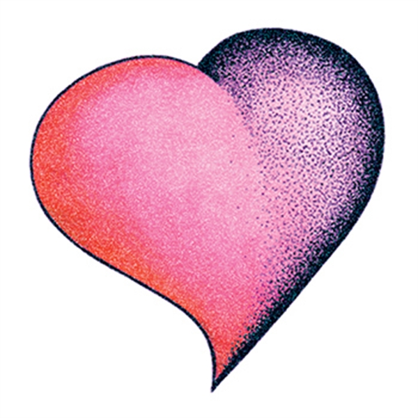 Glitter Purple and Pink Heart Temporary Tattoo