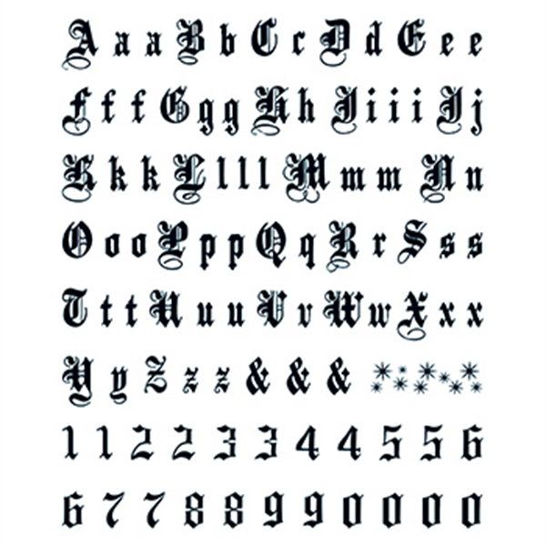 Letters Numbers Large Old English Temporary Tattoo Goimprints