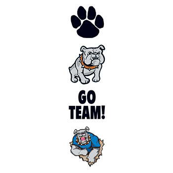 Bulldog Mascot Temporary Tattoo Set