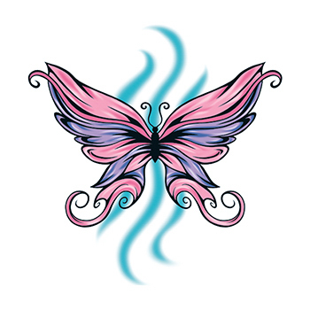 Pink and Purple Butterfly Temporary Tattoo
