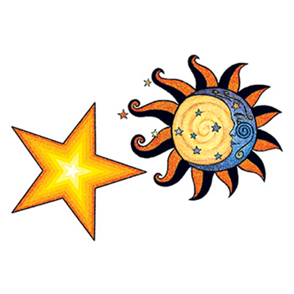 Glitter Sun and Stars Temporary Tattoo