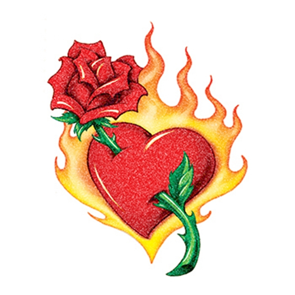 Glitter Flaming Heart and Rose Temporary Tattoo