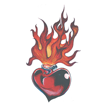 Flaming Black and Red Heart Temporary Tattoo