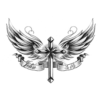 Cross With Wings Temporary Tattoo