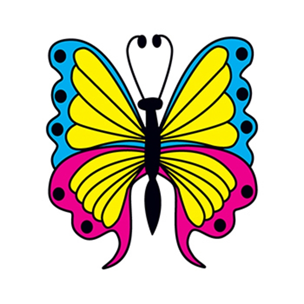 Blue and Pink Butterfly Temporary Tattoo